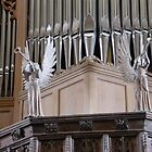 two angels in St Davids Cathedral St Davids Wales UK by Joyce Knorz