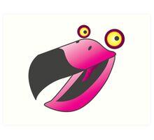 Cute pink beaker bird Art Print