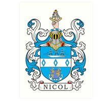 Nicol Coat of Arms Art Print