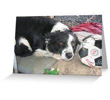 Sweet girl loves soccer too! Greeting Card