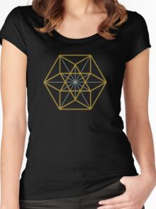 Cuboctahedron, Structur of Universe, Sacred Geometry Women's Fitted Scoop T-Shirt