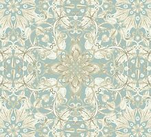 Soft Sage & Cream hand drawn floral pattern by micklyn