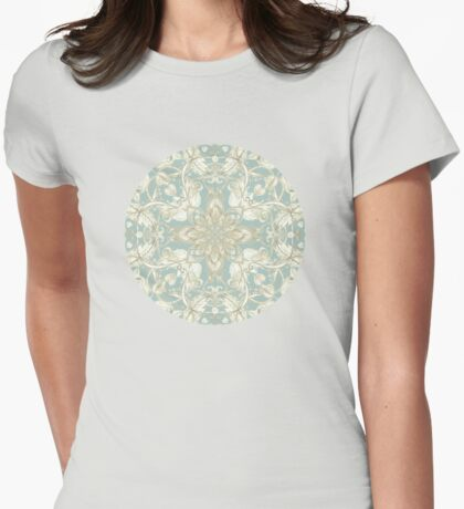 Soft Sage & Cream hand drawn floral pattern Womens Fitted T-Shirt