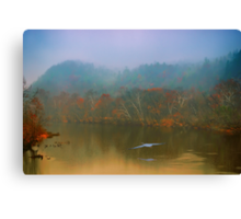 Great Blue Heron on a Misty Day Canvas Print