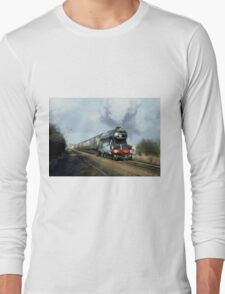 Steam Train Digital Painting / Locomotive Print Long Sleeve T-Shirt