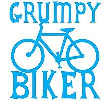 GRUMPY BIKER in blue Photographic Print