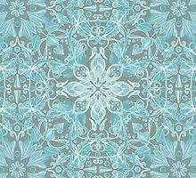 Soft Teal Blue & Grey hand drawn floral pattern by micklyn