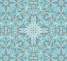 Soft Teal Blue & Grey hand drawn floral pattern by micklyn