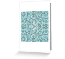 Soft Teal Blue & Grey hand drawn floral pattern Greeting Card