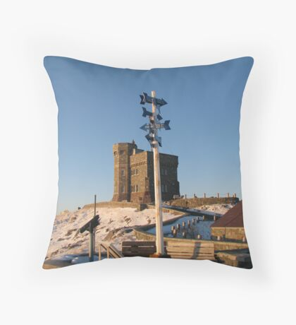 Which direction is morning at Cabot Tower? Throw Pillow
