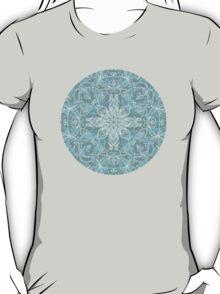 Soft Teal Blue & Grey hand drawn floral pattern T-Shirt