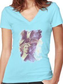 The Lady of Ravens surreal artwork Women's Fitted V-Neck T-Shirt