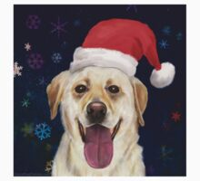 Painting of a Gorgeous Golden Retriever with Red Santa Claus Hat Kids Clothes