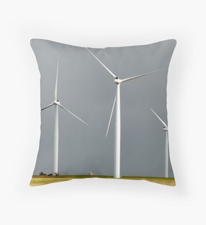 Wind farm on a dark sky Throw Pillow