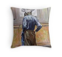 Man in Natural History Museum NYC Throw Pillow
