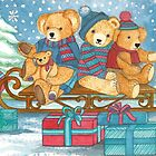 CHRISTMAS TEDDYBEARS ON SLED WITH GIFTS  by RubaiDesign