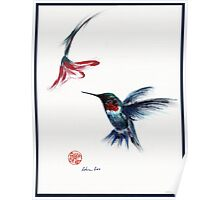 ANGEL - hummingbird & flower painting/drawing Poster