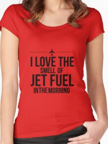 I Love The Smell Of Jet Fuel In The Morning - Black Women's Fitted Scoop T-Shirt