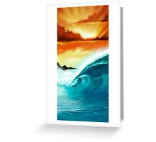 Blue Wave Sunset Greeting Card