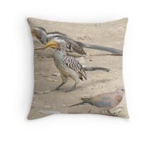 Southern Yellow-billed Hornbills And Dove (II) Throw Pillow