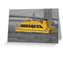 Floating New York Taxi Greeting Card
