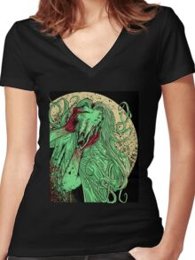 heartless ram faced lady Women's Fitted V-Neck T-Shirt