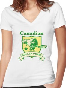 Canadian Roller Derby Women's Fitted V-Neck T-Shirt