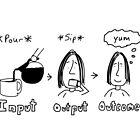 Input Output Outcome Mug by Chris Lysy