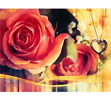 Card with rose and pendant 2 Photographic Print