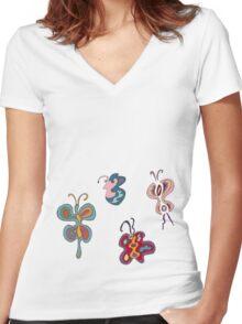 Abstract Butterflies Women's Fitted V-Neck T-Shirt