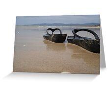Thongs on beach Greeting Card