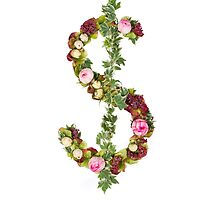 US Dollar Symbol Part of a set of letters, Numbers and symbols of the Alphabet made with flowers by PhotoStock-Isra
