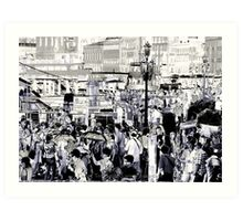people at the port Art Print