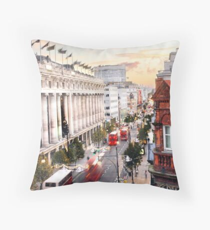 Oxford Street Early Morning Throw Pillow
