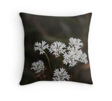 white fowers  Throw Pillow