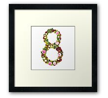 The number Eight Part of a set of letters, Numbers and symbols of the Alphabet made with flowers Framed Print