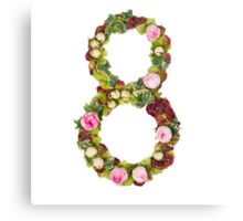 The number Eight Part of a set of letters, Numbers and symbols of the Alphabet made with flowers Canvas Print