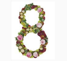 The number Eight Part of a set of letters, Numbers and symbols of the Alphabet made with flowers T-Shirt