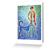 Girl and her faithful dog Greeting Card