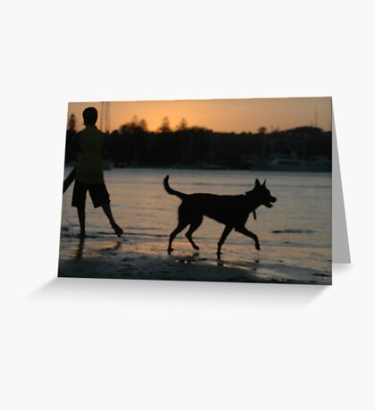 boy and his dog Greeting Card