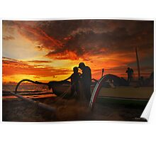 The Fishermen At Sunset Poster