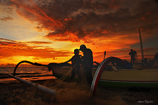 The Fishermen At Sunset by Antoine Dagobert