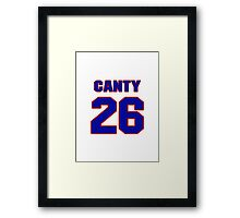 National football player Chris Canty jersey 26 Framed Print