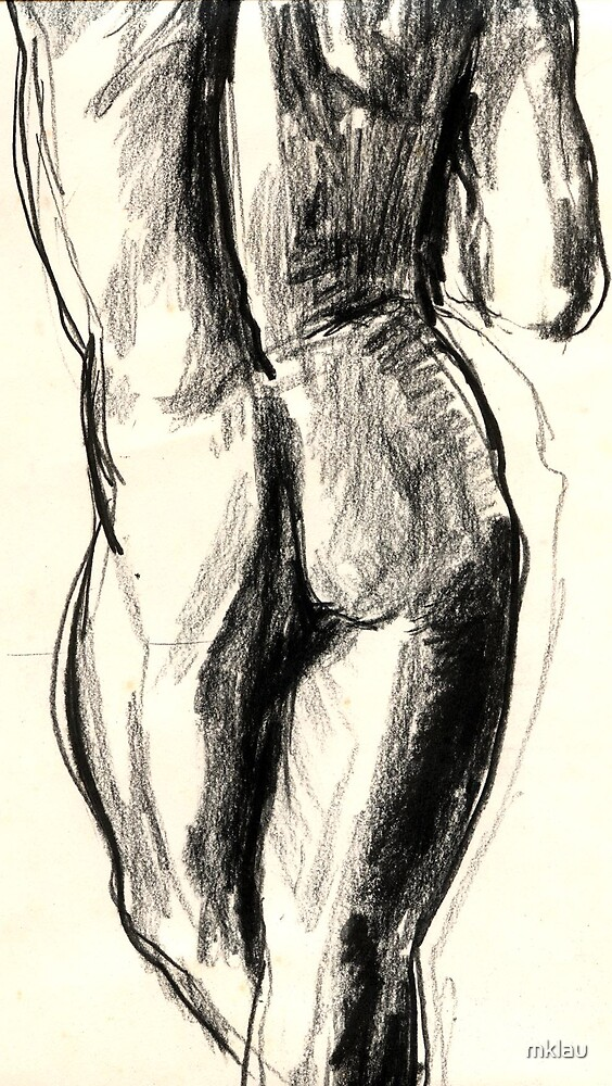 Sketch in charcoal of a nude male model by mklau