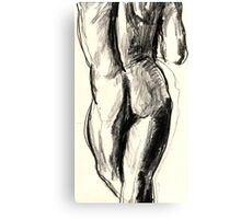 Sketch in charcoal of a nude male model Canvas Print