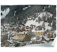 Swiss Winter Village Scene Poster