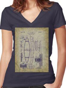 1929 Canoe Construction Patent Art Women's Fitted V-Neck T-Shirt