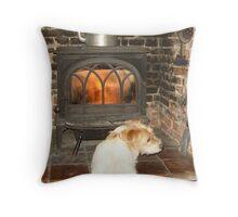 fireside jack russell Throw Pillow