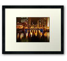 Chicago River at Night Framed Print