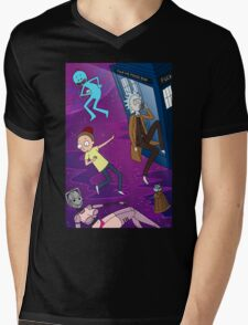 Rick and Morty - Doctor Who Mash Up!  Mens V-Neck T-Shirt